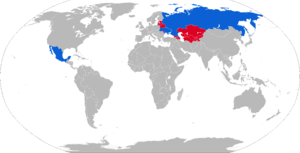 Sprut anti-tank gun - Map of Sprut operators in blue with former operators in red