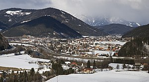 Sankt Michael in Obersteiermark as viewed from the south in winter