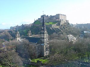 St Cuthbert's Church, Edinburgh - Exterior of St Cuthbert's Church (looking south-east towards Edinburgh Castle)