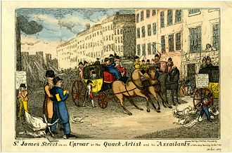 William Paulet Carey - Satirical print of an early incident in the feud between Carey and Benjamin Haydon. St James' Street in an Uproar or the Quack Artist and his Assailants: Saturday morning 30 Jan 1819. Haydon is at the left in blue, Carey is represented by the goose behind him. Carey had doubted whether Haydon's charging a shilling for admission to an exhibition of eight chalk drawings was value for money.