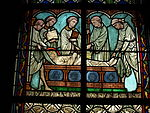 Stained glass (fragment) in the Notre-Dame de Paris.JPG