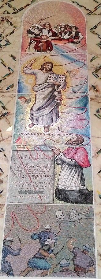 Pjetër Bogdani - Stained glass depiction of Pjetër Bogdani at the Catholic Cathedral in Prishtinë, Kosovo