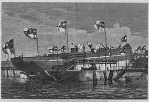 Sachsen-class ironclad - The launching of Bayern