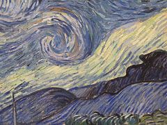 Starry night Van Gogh detail hills
