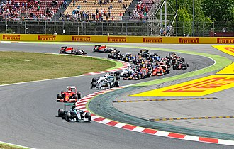 Nico Rosberg leads the field on the opening lap of the Spanish Grand Prix. He would go on to win the race. Start 2015 Spanish Grand Prix.jpg