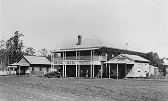 Cooyar, Queensland - Royal Mail Hotel in Cooyar, ca. 1928. A butcher's shop is next door.