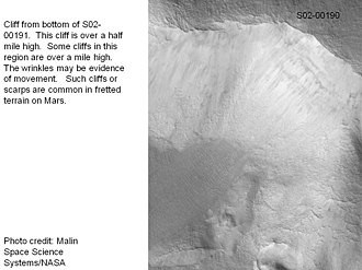 Fretted terrain - Image: Steep cliff in Ismenius Lacus taken with MGS