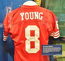 Young s 1992 MVP season jersey shown at Pro Football Hall of Fame in  Canton ca64e4cf8