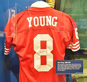 Steve Young - Young's 1992 MVP season jersey shown at Pro Football Hall of Fame in Canton, OH