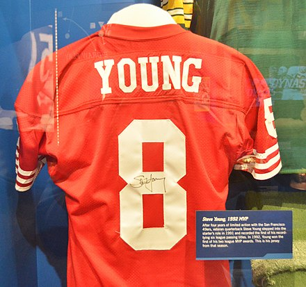 ecb45137f Young s 1992 MVP season jersey shown at Pro Football Hall of Fame in  Canton