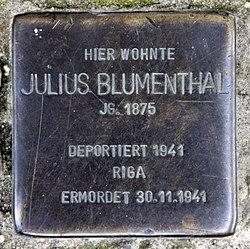 Photo of Julius Blumenthal brass plaque