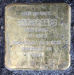 Photo of Edith Seelig brass plaque