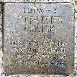Photo of Edith Ester Cibulski brass plaque