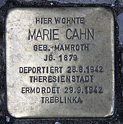 Photo of Marie Cahn brass plaque