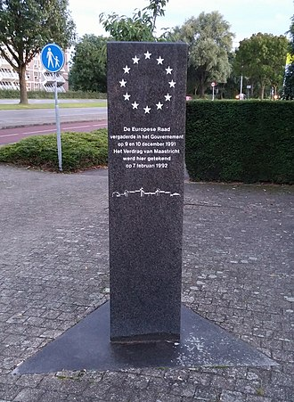 Maastricht Treaty - Stone memorial in front of the entry to the Limburg Province government building in Maastricht, Netherlands, commemorating the signing of the Maastricht Treaty
