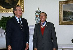 President George H.W. Bush presents Thurmond with the Presidential Medal of Freedom.