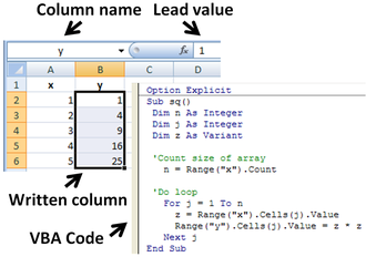 Microsoft Excel - Subroutine in Excel calculates the square of named column variable x read from the spreadsheet, and writes it into the named column variable y.