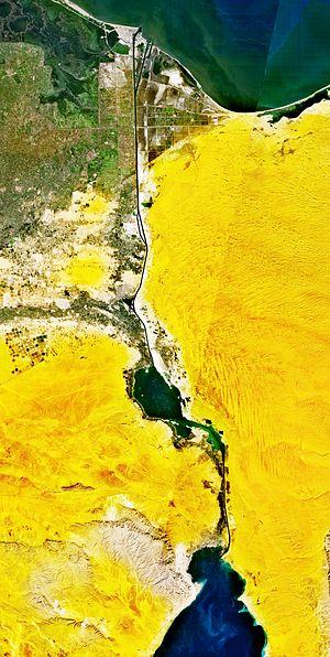 The Suez Canal is 163 kilometres long