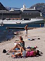 Sunbathers with Celebrithy Solstice Liner at Rear - Kotor - Montenegro.jpg