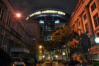 Legitimate expectation in Singapore law - A night view of the Supreme Court of Singapore from the lane between the Old Supreme Court Building and City Hall. The existence of the legitimate expectation doctrine has been accepted by the Singapore courts.