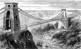 Clifton Suspension Bridge - An 1878 drawing of the Clifton Suspension Bridge