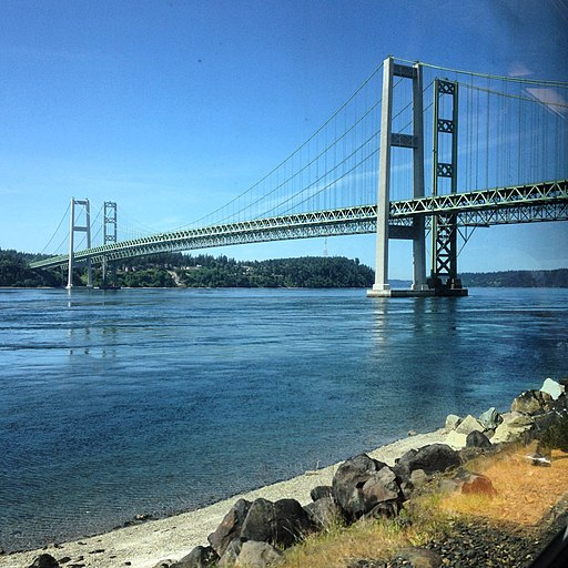 Tacoma Narrows Bridge, by train