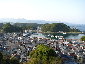 Taiji, Wakayama - Central Taiji, as viewed from the south, with the marina in the center and the Pacific is to the right