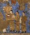 Tang Dynasty emissaries at the court of Varkhuman in Samarkand carrying silk and a string of silkworm cocoons, 648-651 CE, Afrasiyab murals, Samarkand.jpg