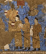 Tang Dynasty emissaries at the court of Varkhuman in Samarkand carrying silk and a string of silkworm cocoons, 648-651 CE, Afrasiyab murals, Samarkand.jpg