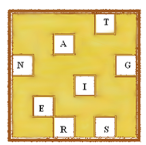 Grille (cryptography) - A cardboard grille with eight single-letter apertures.