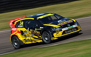 Tanner Foust - Foust in action during the 2014 World RX of Great Britain. Later that same year he won the World RX of Finland.