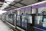 Taoyuan Metro Commuter Train at Platform 1, Xinzhuang Fuduxin Station 20170318.jpg