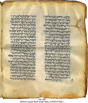 Targum - 11th century Hebrew Bible with targum, perhaps from Tunisia, found in Iraq: part of the Schøyen Collection.