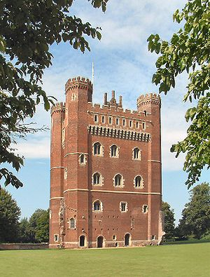 Tattershall Castle, Lincolnshire - Great Tower of Tattershall Castle showing the three separate entrances