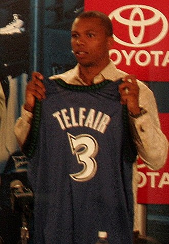 Sebastian Telfair - Telfair holding his new Timberwolves jersey during his first stint with them in 2007