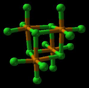 Tellurium tetrachloride - Image: Tellurium tetrachloride tetramer from xtal 2000 3D balls