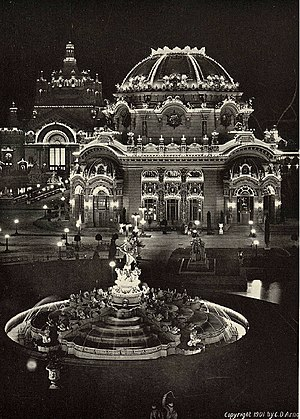 Temple of Music - Temple of Music at night, photograph, 1901.