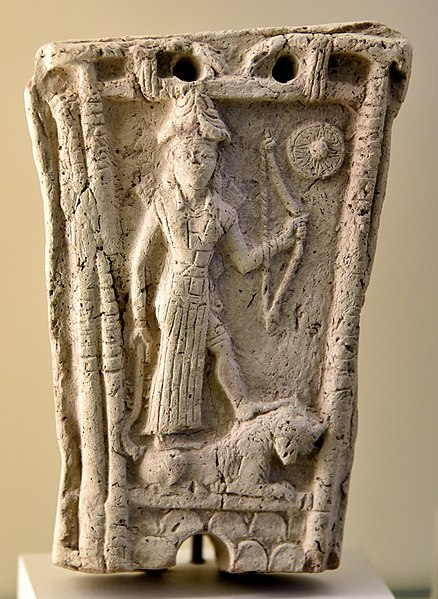 File:Terracotta plaque showing the Goddess Ishtar standing on a lion. From Iraq. 18th-17th century BCE. Pergamon Museum.jpg