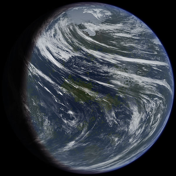 A conceptual picture I made of Venus if it were terraformed. (Credit: Daein Ballard) Notice the interesting cloud formations and that the planet has polar caps. I decided to show the planet this way after studying Venus' atmosphere. The two Hadley cells the planet has stop at 70 degrees north and south. So the polar regions are cut off from the warm air. Also the slow rotation of the planet causes the clouds to whip around the planet very fast, especially at the equator, to balance out the temperature difference between day and night sides of the planet.