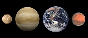 Size comparison of terrestrial planets (left to right): Mercury, Venus, Earth, and Mars.