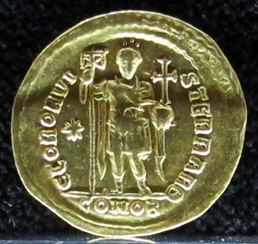 Tesoretto di sovana 070 solido di teodosio II (425-429), zecca di costantinopoli Θ (theta)