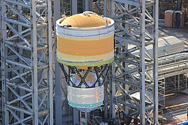 1091204497a4 SLS ICPS Test Article getting stacked on a test stand in late 2016