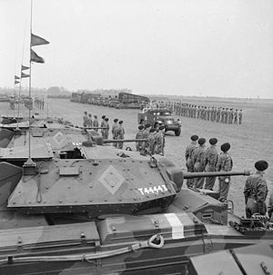 11th Armoured Division (United Kingdom) - King George VI inspects Crusader tanks of the 11th Armoured Division in January 1943.