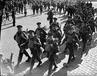 Expeditionary warfare - Coldstream Guards of the British Expeditionary Force arrive in Cherbourg, France 1939