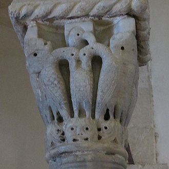 Cenacle - Carving of pelican, symbol of Jesus in Christian iconography