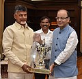 The Chief Minister of Andhra Pradesh, Shri N. Chandrababu Naidu calling the Union Minister for Finance and Corporate Affairs, Shri Arun Jaitley, in New Delhi on September 21, 2016.jpg