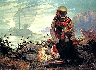 King Arthur - The Death of Arthur by John Garrick (1862), depicting a boat arriving to take Arthur to Avalon after the Battle of Camlann