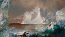 Painting of icebergs, with one white iceberg dominating the center of the work and dark blue and black icebergs framing the piece. The work is painted in a suggestive style rather than with precise detail.
