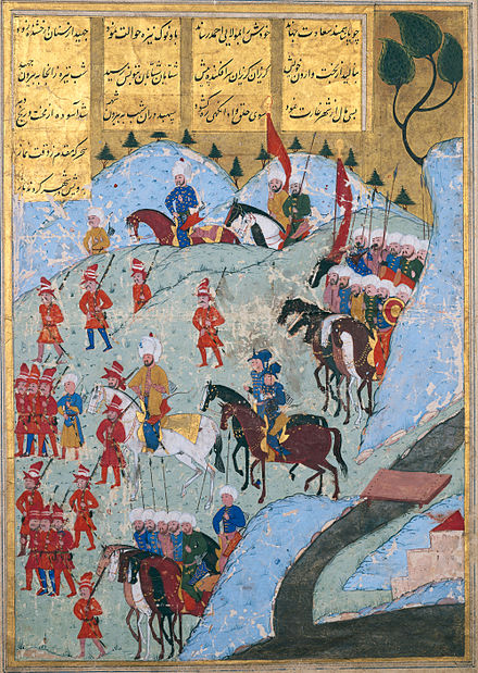 Ottoman troops (about 5,000 janissaries) and Kabyle troops, led by Uluc Ali, Pasha of Algiers, marching on Tunis in 1569. The Ottoman Army Marching On The City Of Tunis In 1569 Ce.jpg