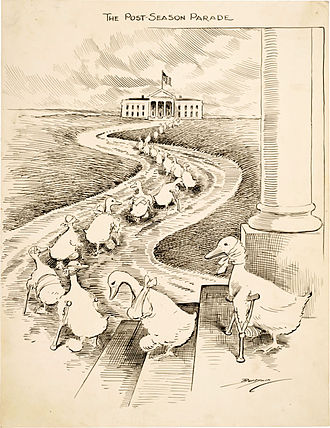 Lame duck (politics) - The lame ducks depicted in this Clifford K. Berryman cartoon are defeated Democrats heading to the White House hoping to secure political appointments from then President Woodrow Wilson.
